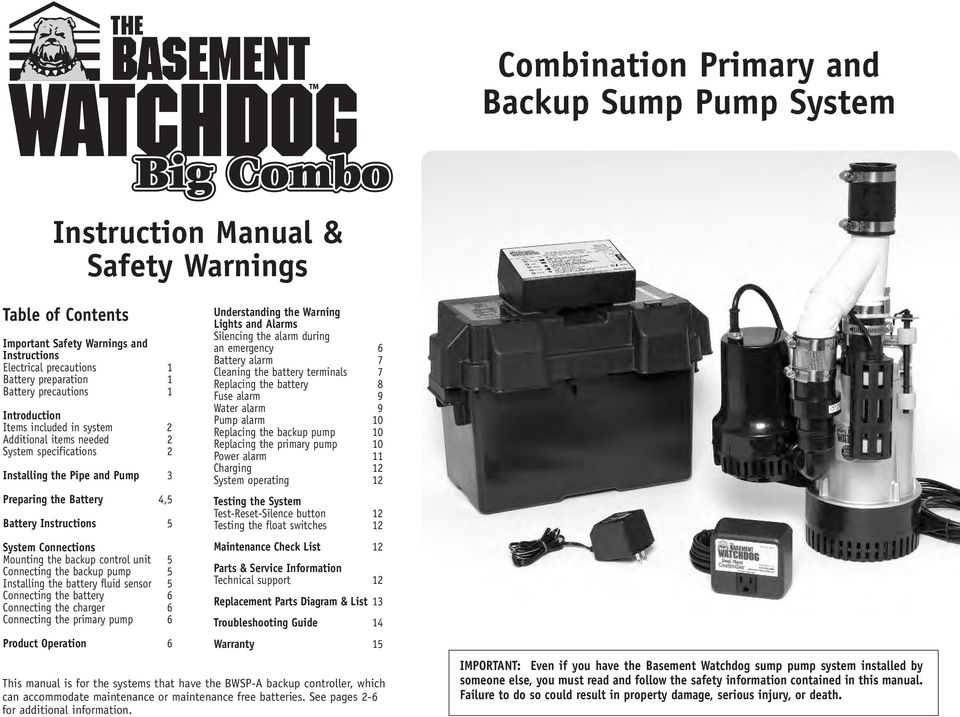 Combination Primary and Backup Sump Pump System - PDF