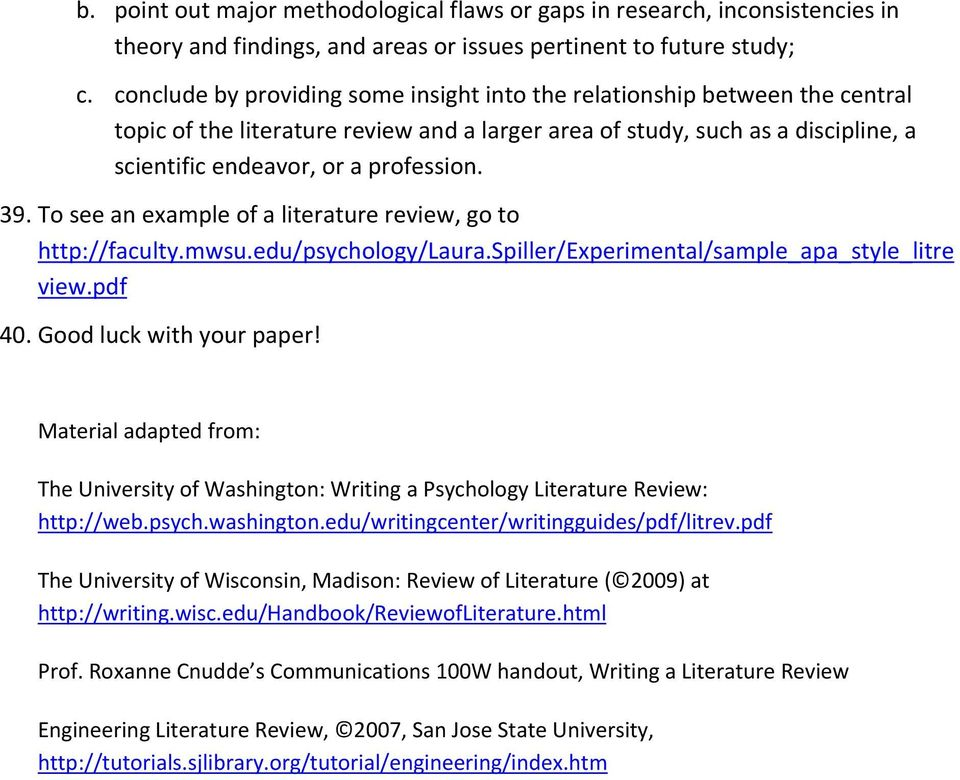 Writing a Literature Review Paper - PDF - literature review examples apa