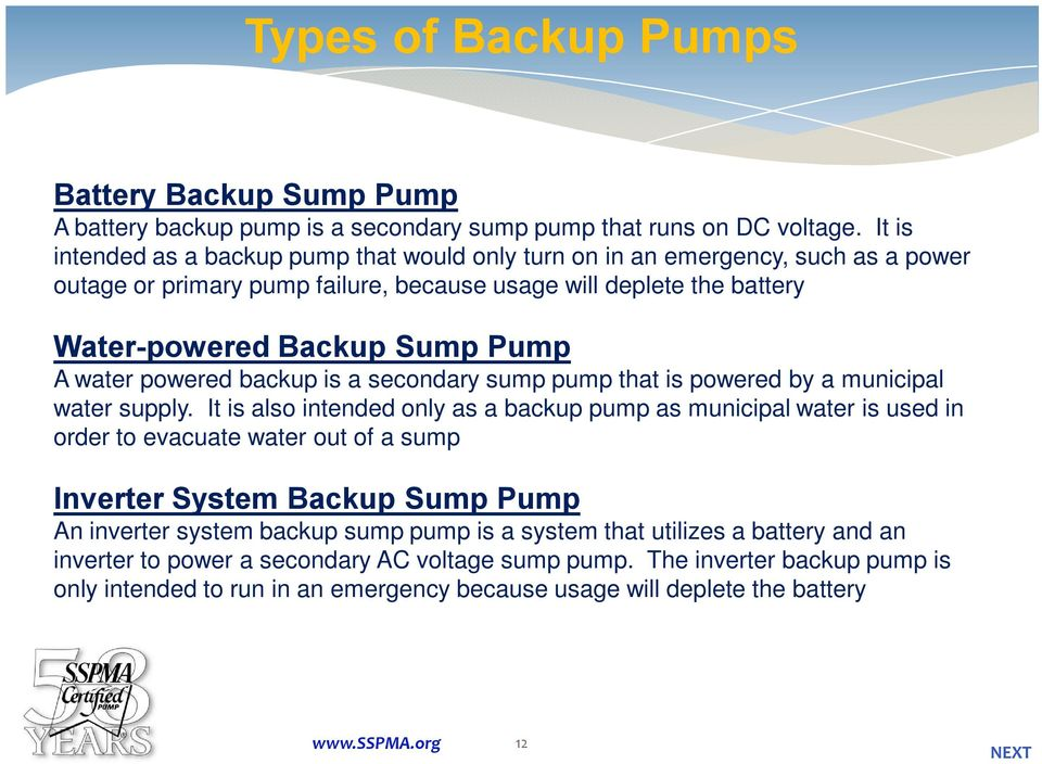 Backup Sump Pump Systems 1 NEXT - PDF