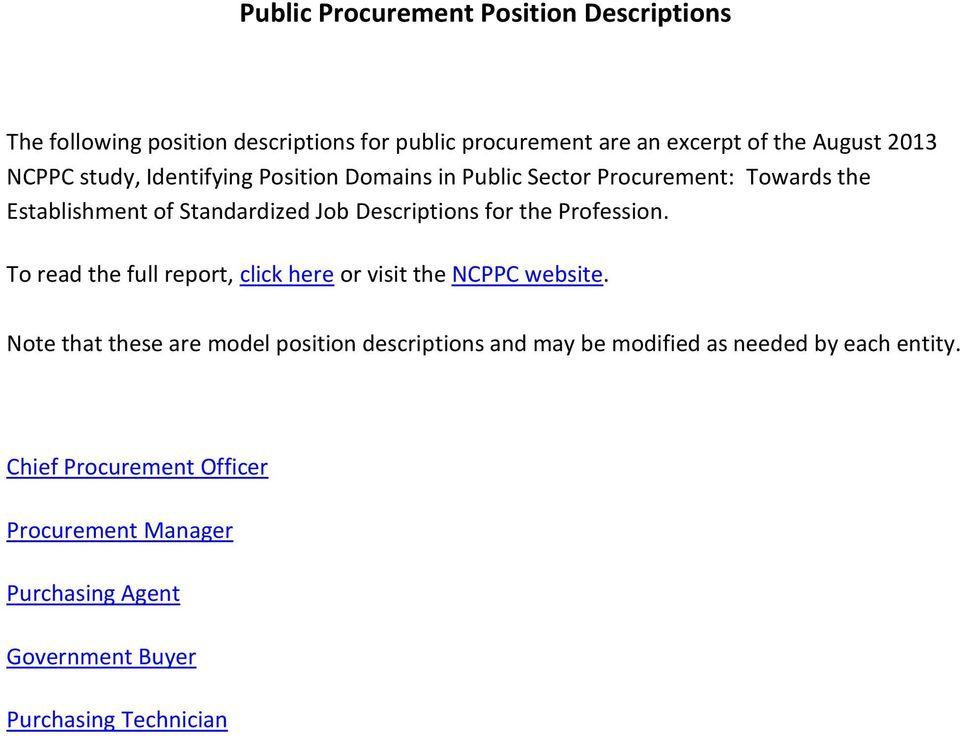 Public Procurement Position Descriptions - PDF