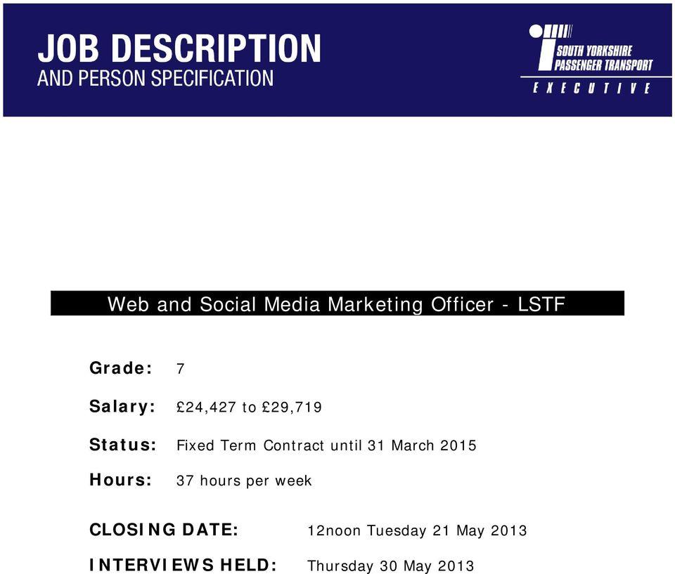 Web and Social Media Marketing Officer - LSTF - PDF
