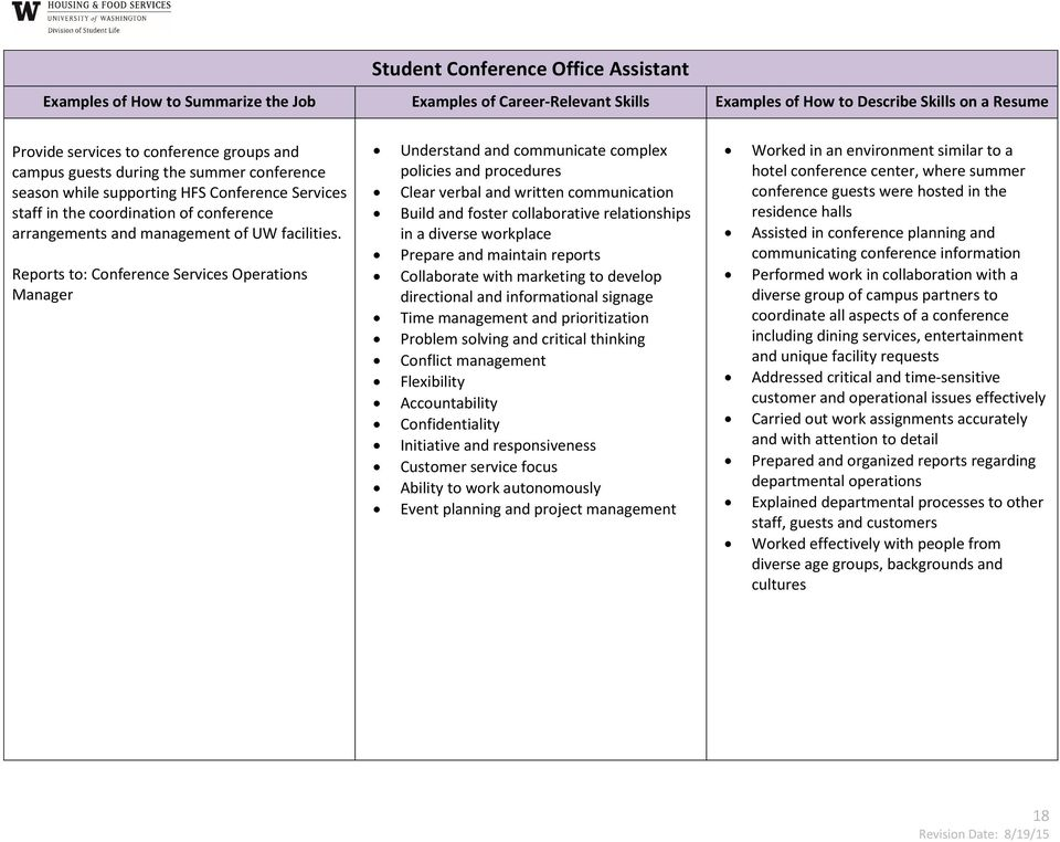 Resume Resource and Guide to Student Jobs and Related Competencies - PDF