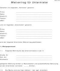 Mietvertrag fr Untermieter - PDF