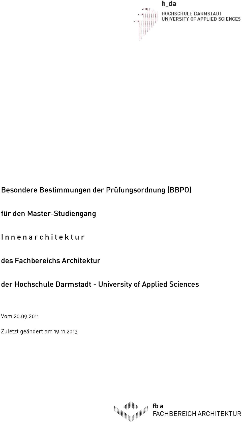 Innenarchitektur Hda Der Hochschule Darmstadt University Of Applied Sciences Pdf