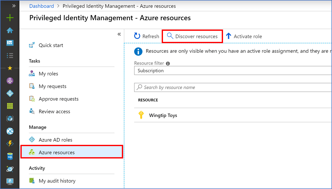 Manage Resource Discover Azure Resources To Manage In Pim Azure Active Directory