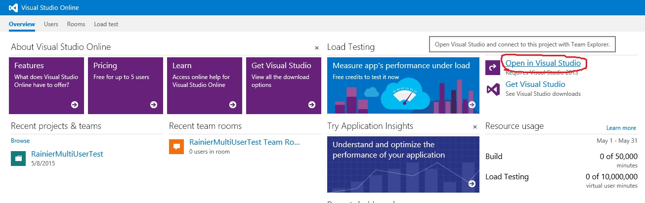 Performance SDK and multiuser testing via Visual Studio Online