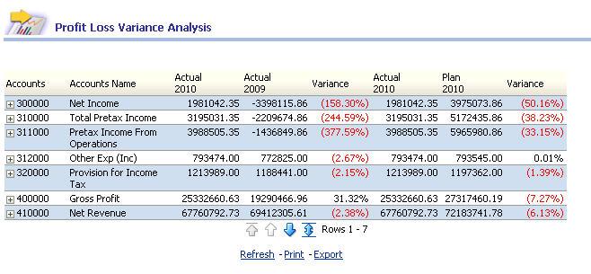 Oracle Enterprise Performance Management Workspace, Fusion Edition - loss profit statement