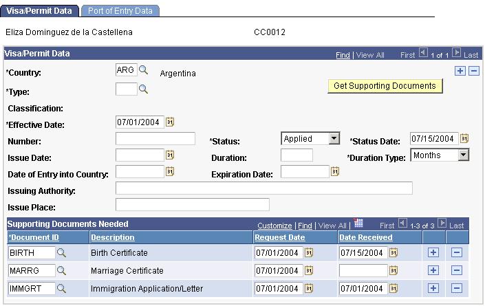Entering Citizenship Data