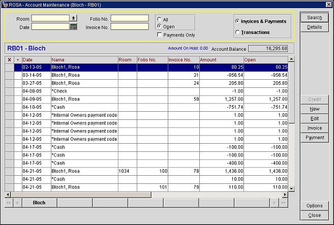 Owner Account Maintenance Screen Invoices and Payments View
