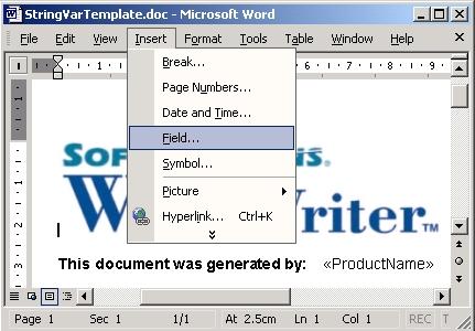 SoftArtisans OfficeWriter - create document template