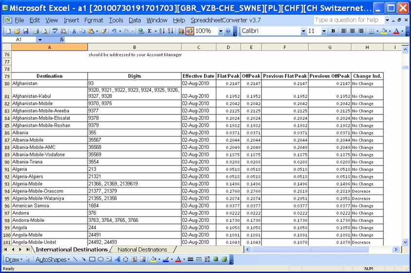 Converting the Excel rate sheet with one-line per title and one-cell