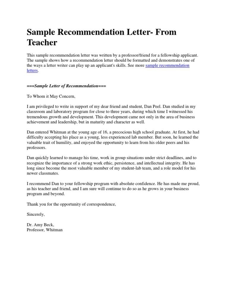Sample Recommendation Letter- From Teacher - DocSharetips