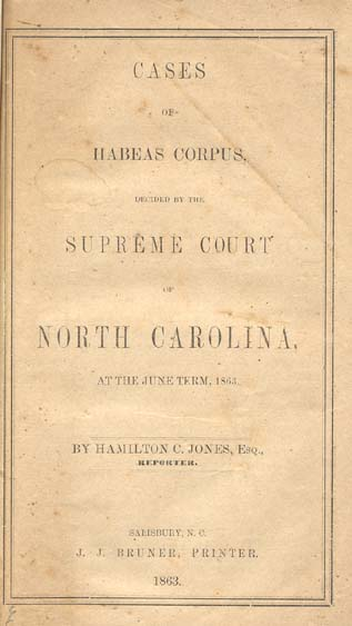 North Carolina. Supreme Court. Cases of Habeas Corpus, Decided by the Supreme Court of North ...