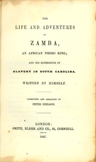 Peter Neilson, 1795-1861 The Life and Adventures of Zamba, an