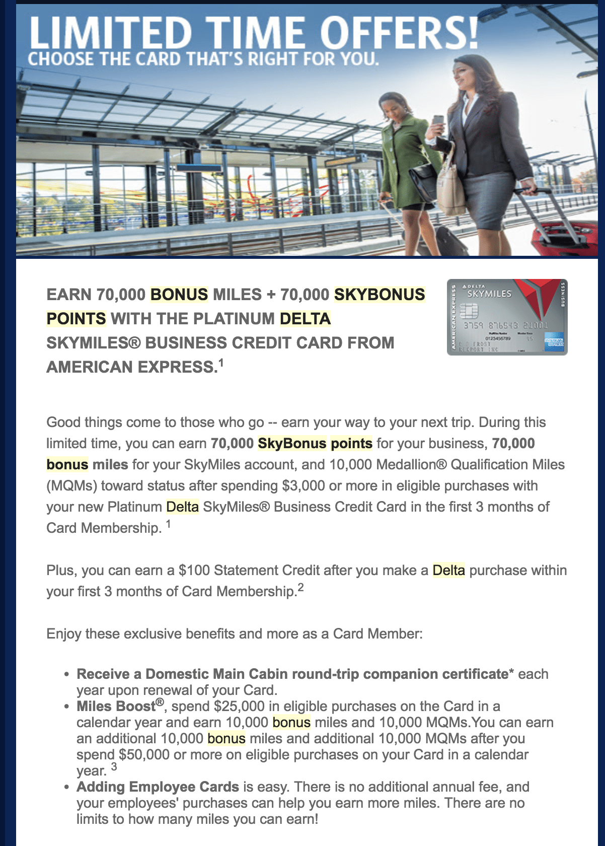 Miles And More Business Targeted American Express Business Delta Platinum 70 000 Miles