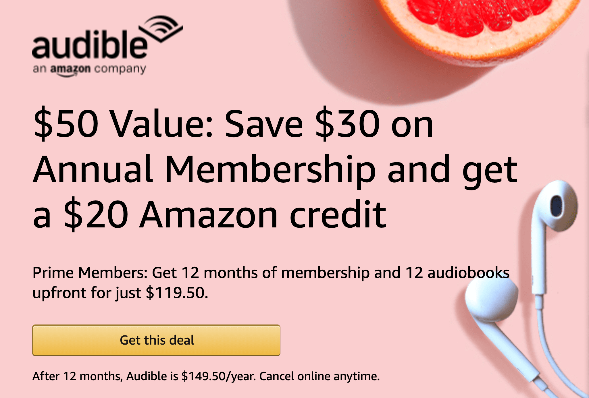 Amazon Audible Cancel Membership Amazon Prime Audible Save 30 On Annual Membership 20 Amazon