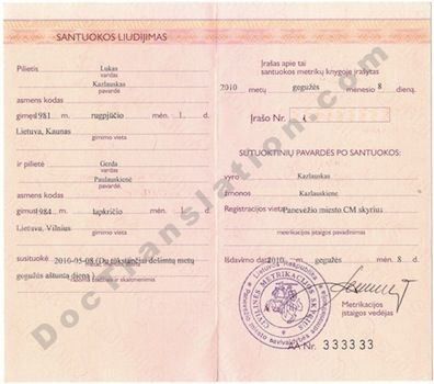 Certified translation from Lithuanian of Marriage Certificate