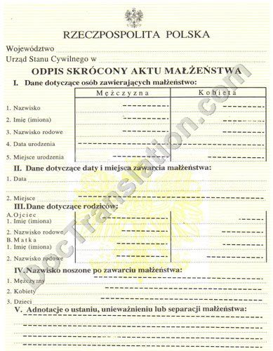 Certified translation of Polish Marriage Certificate - marriage certificate