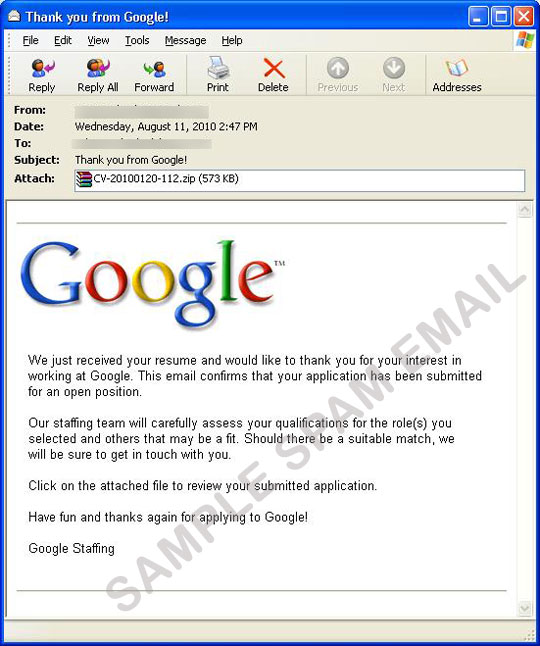Fake Google Job Application mail with Worm attachment - Threat - resume for google job