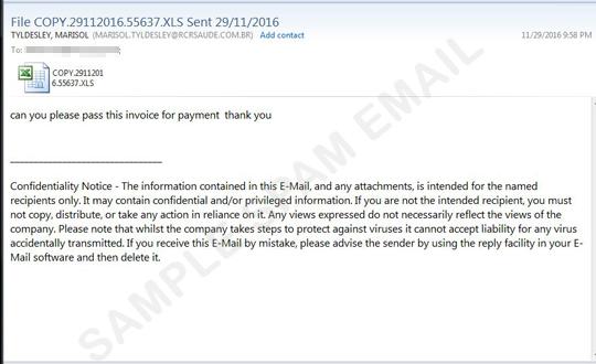 Fake Invoice Spam Comes with a Malicious Microsoft Excel Attachment