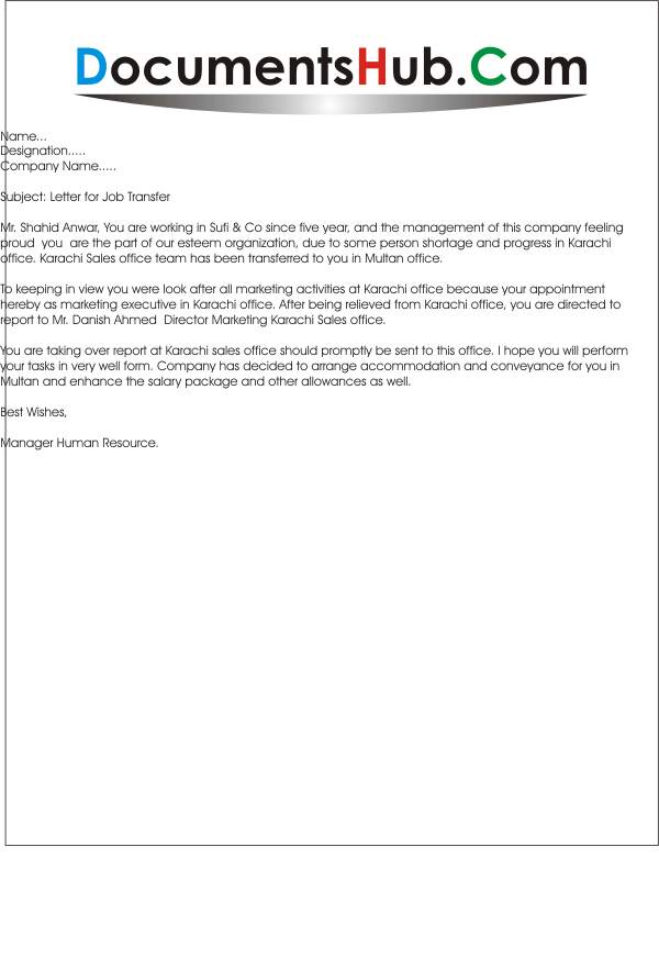 sample letter for job transfer to another branch