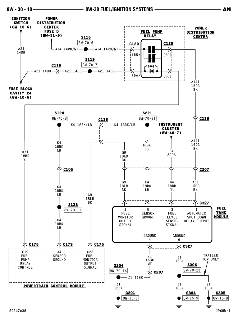 2000 chrysler lhs fuel pump wiring diagram