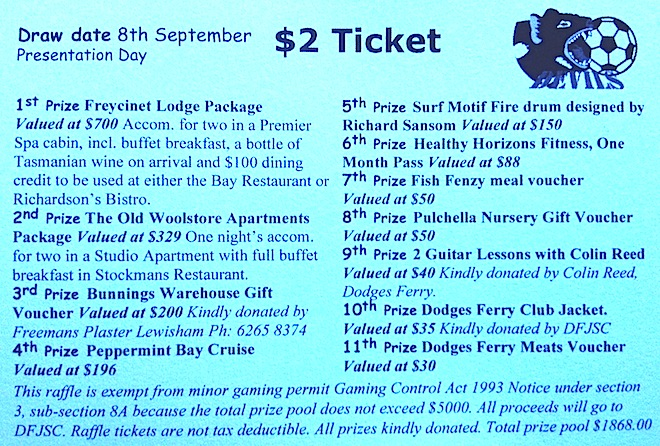 Terrific prizes lined up for raffle Dodges Ferry Junior Soccer Club - raffle ticket prizes