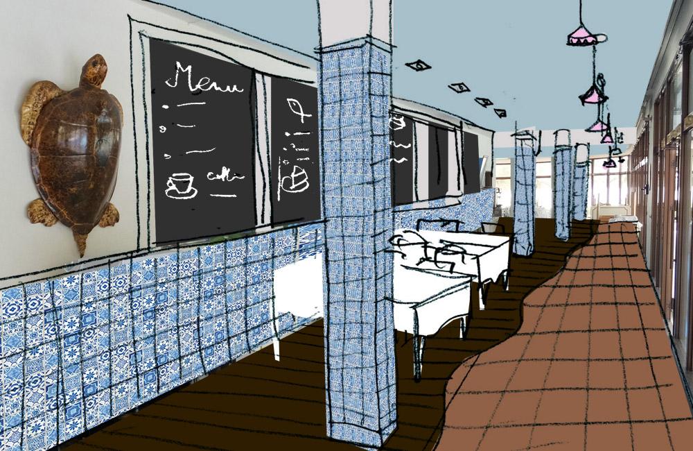 レストラン廊下改装のご提案スケッチ