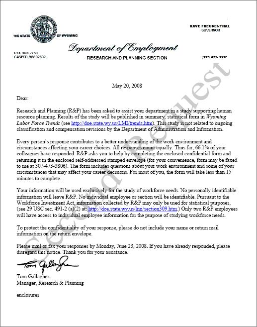 Succession Planning Report 2008 - Appendix C - survey cover letter