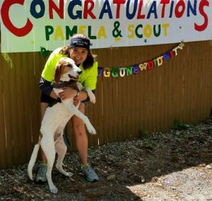 Scout and Pam, the Dog Runner after they ran their healthy marathon together!