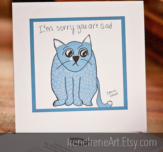 Illustration - sympathy card with cat
