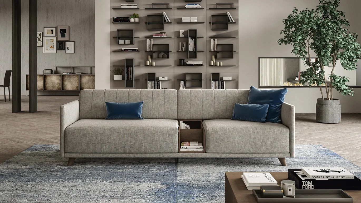 Divano Design Minimal Jason 92 Suspended Leather Sofa Doimo Salotti