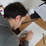 Jeff working on the illustrations