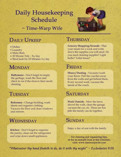 Housework Schedule \u2013 Do It And How - housework schedule