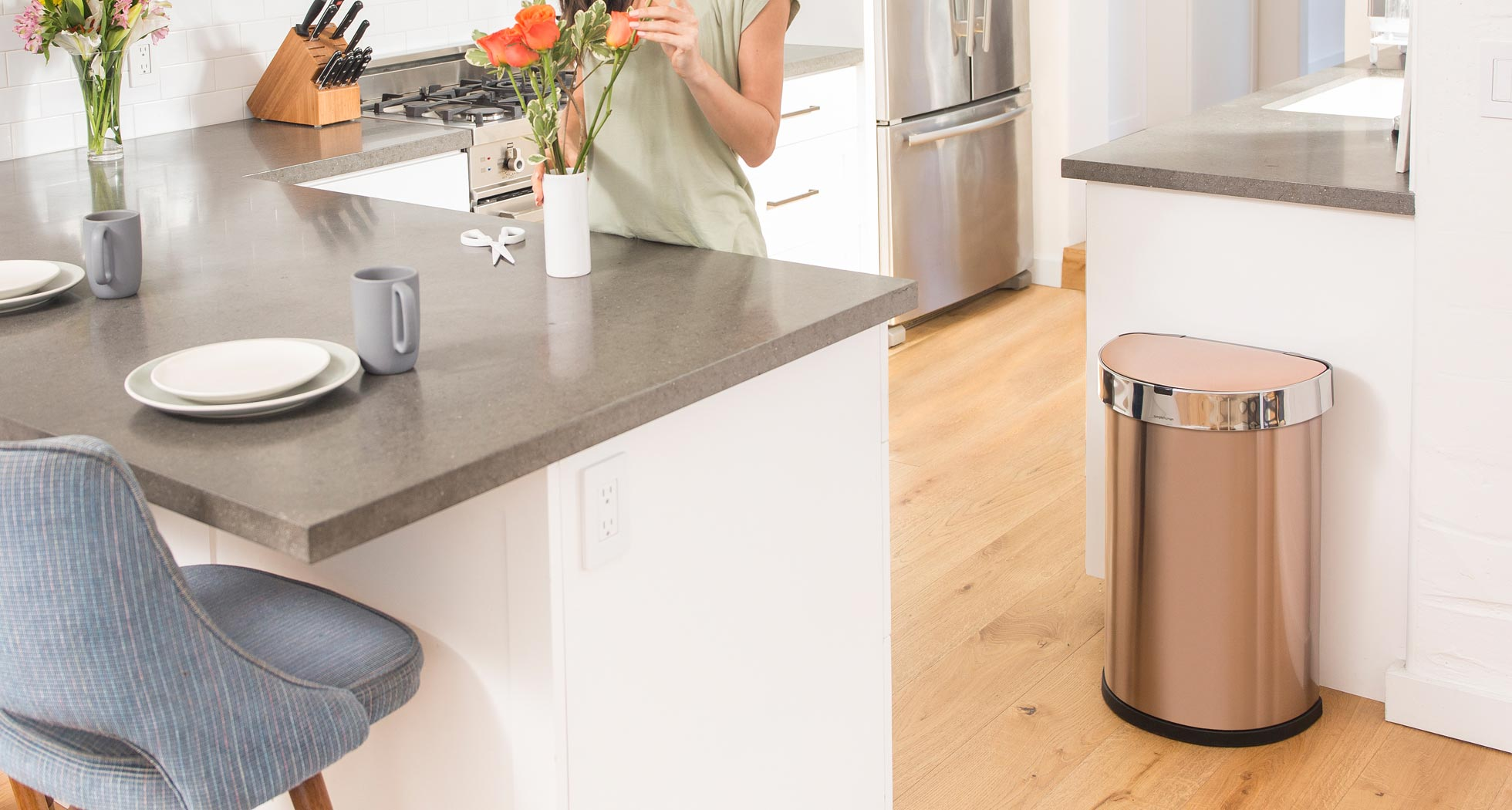 Rose Gold Trash Can Simplehuman 45l Semi Round Rose Gold Stainless Steel