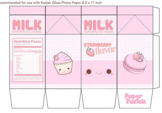 Doll Printies Drinks - Milk Carton Template