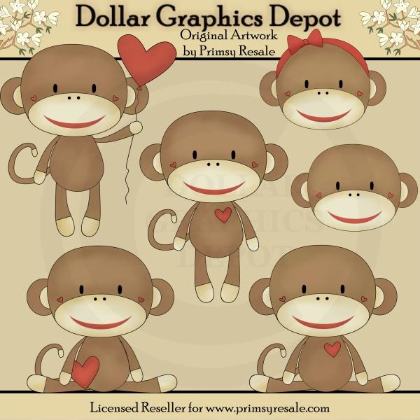 Sock Monkeys - Clip Art - $100  Dollar Graphics Depot, Quality