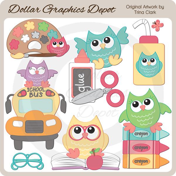 Back to School Owls 1 - Clip Art - $100  Dollar Graphics Depot