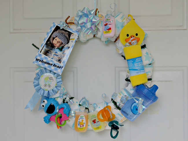 Make A Diaper Wreath For A Baby Shower Dollar Store Crafts