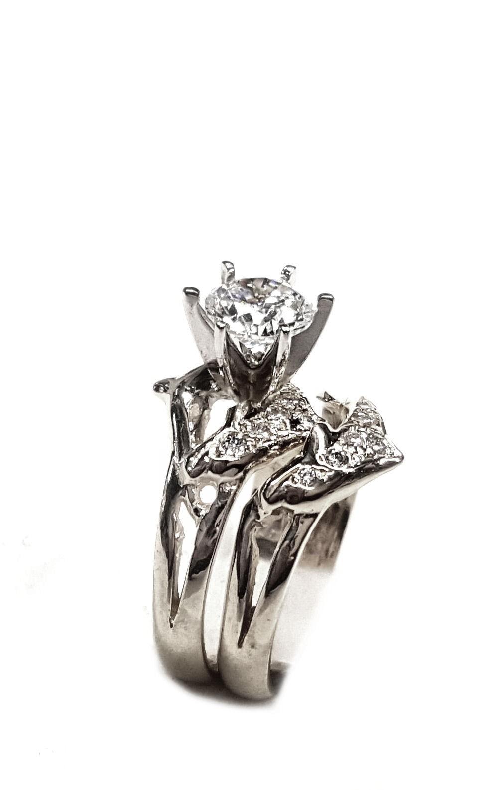 double diamond dolphin wedding set 1 4ct center diamond dolphin wedding rings Double diamond dolphin wedding set 1 4ct center diamond