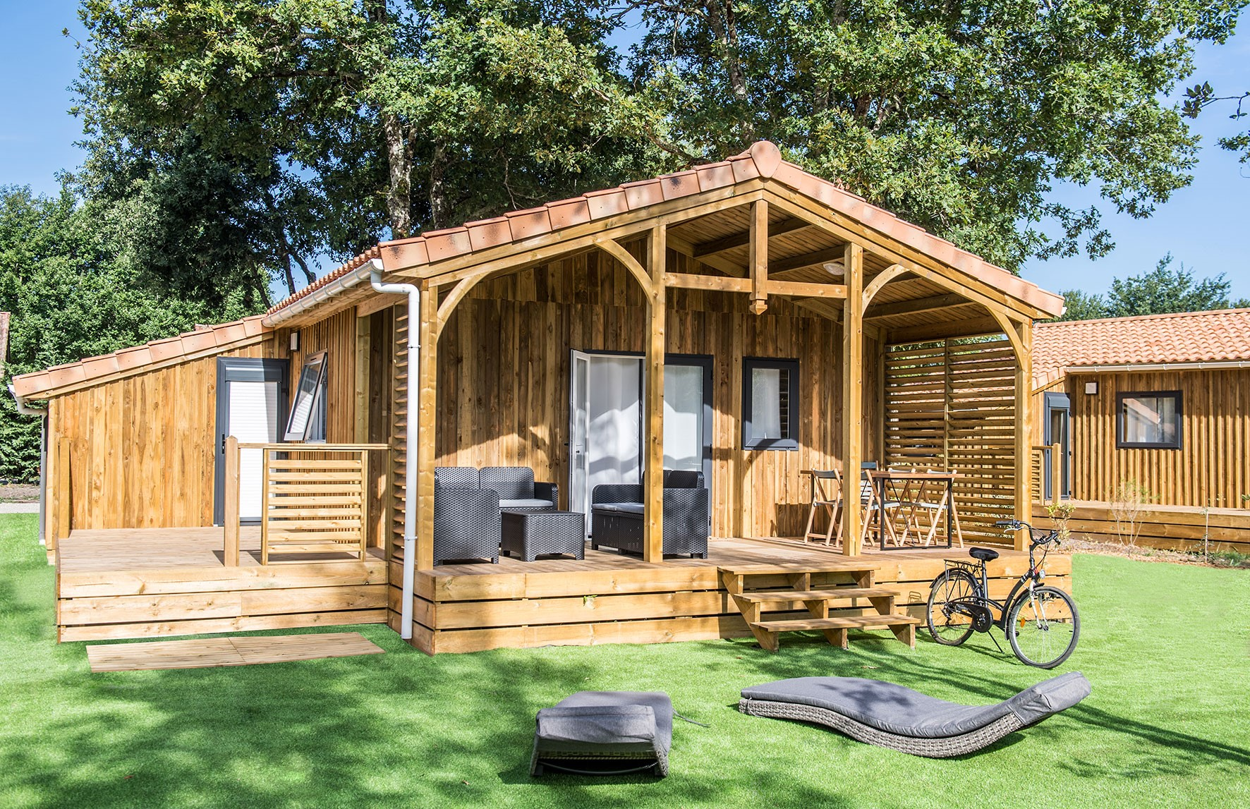 Prix Terrasse Mobil Home Achat Chalet Bassin D Arcachon Camping La Forge