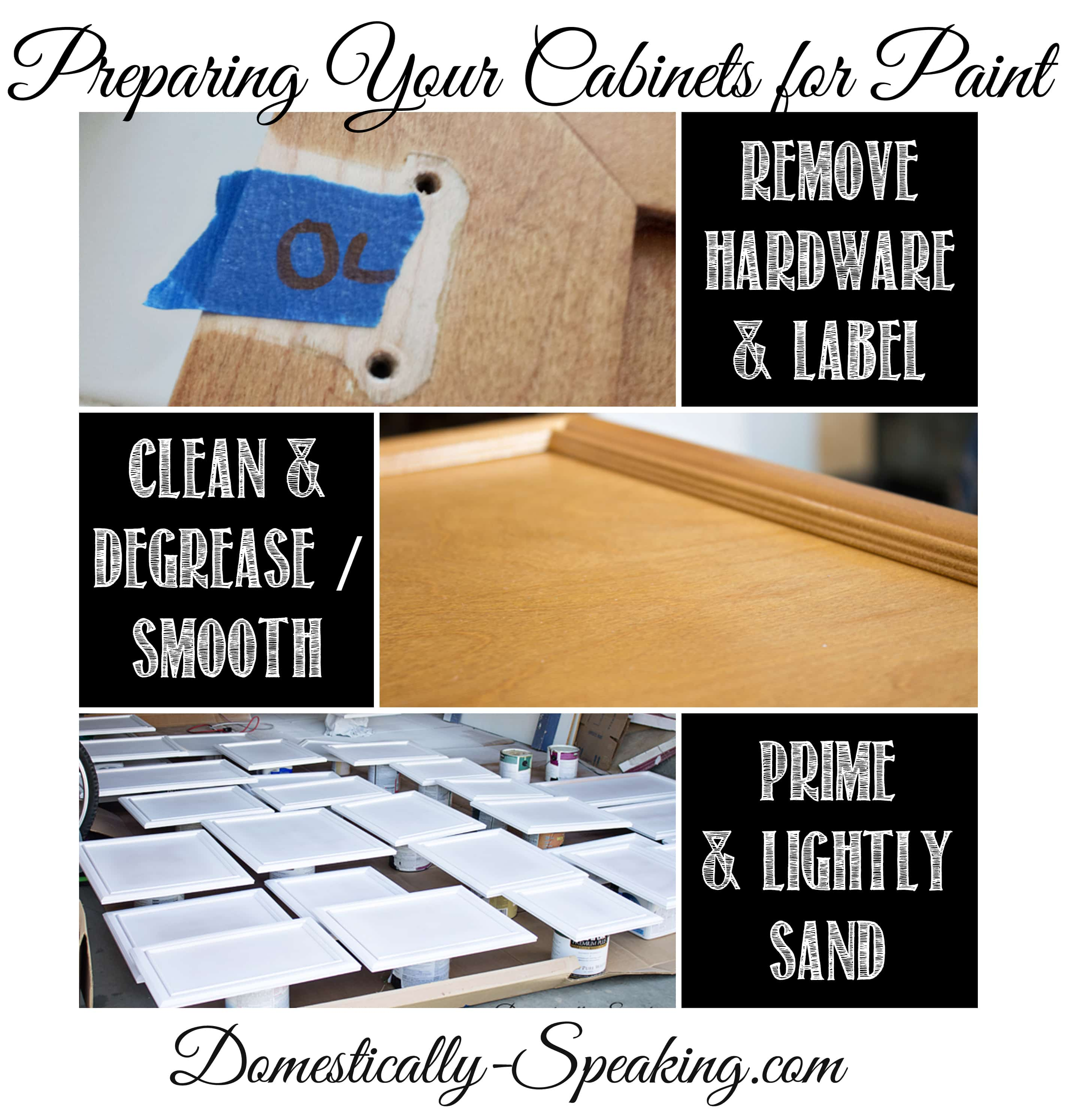 How To Prep Kitchen Cabinets For Painting Preparing Your Cabinets For Paint Domestically Speaking