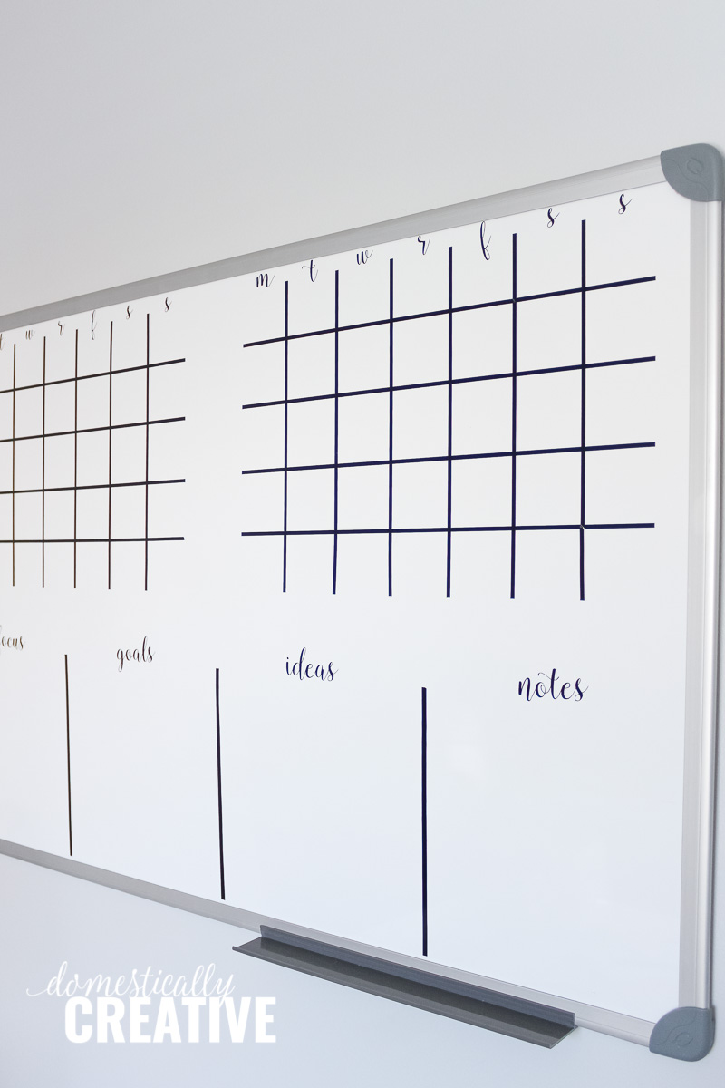 Turn A Wall Into A Whiteboard Diy Whiteboard Calendar And Planner Domestically Creative