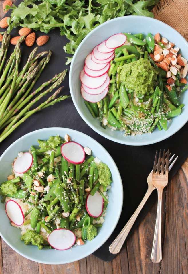 14. Cauliflower Rice Bowls with Spring Vegetables and Arugula Pesto ...