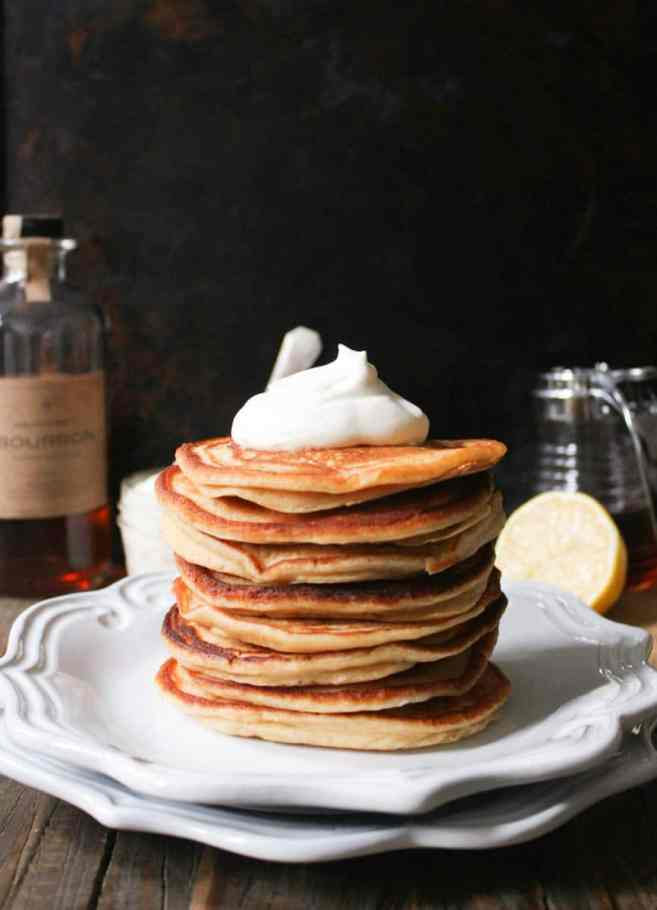 Cinnamon-Ricotta-Pancakes-with-Maple-Bourbon-Whipped-Cream