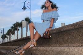 Zara Off-The-Shoulder Light Denim Summer OOTD Look