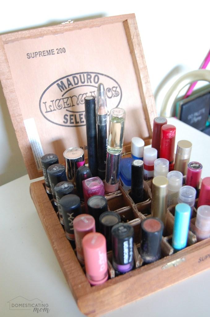 Cigar Box Lipstick Organizer
