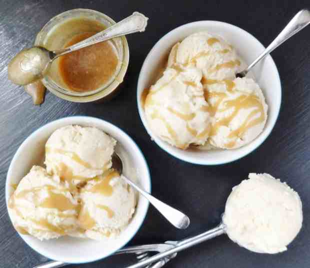 maple syrup ice cream with maple caramel swirl