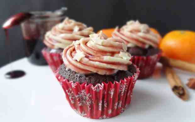 mulled wine chocolate cupcakes with spiced orange mascarpone frosting
