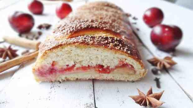 spiced plum & almond plaited loaf